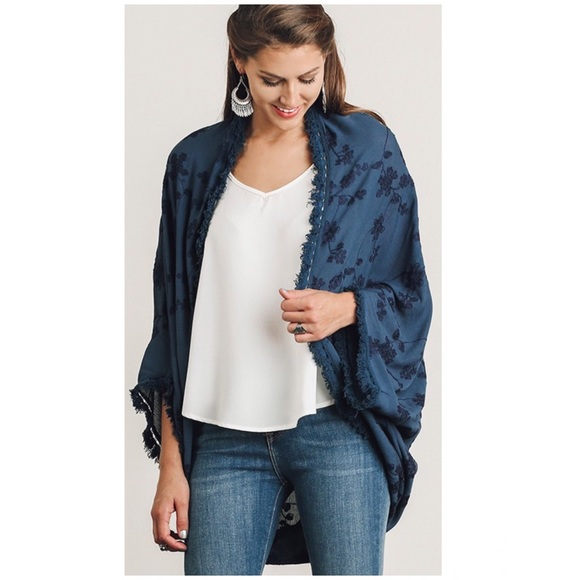 Navy Open Front Cardigan With Floral Embroidery From