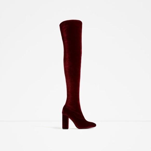 8de81d8976b Zara Red Velvet Over the Knee Boots