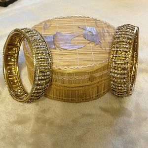 Indian gold and white stone bangles