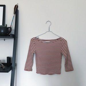 Tops - Stripped Long Sleeve Crop Top