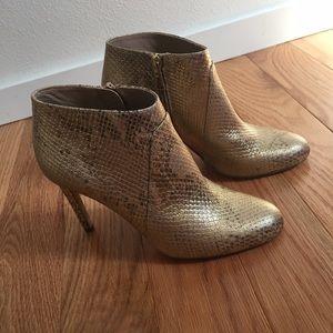 Diane von Furstenberg Shoes - DVF Gold Snakeskin Heeled Bootie