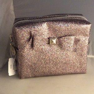BBW Silver Iridescent glitter makeup bag NWT