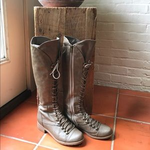 BAMBOO Lace Up Boots in Warm Stone