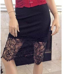 Charlotte Russe Dresses & Skirts - Charlotte Russe Stretch Half Lacy Skirt Medium
