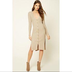 Oatmeal Ribbed Knit Midi Dress S