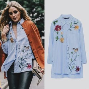 Tops - Flower Embroidered Blue Stiped Blouse