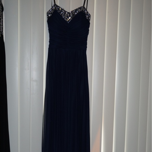 409e4f35be Navy Blue Dress with Silver Beading & Rhinestones