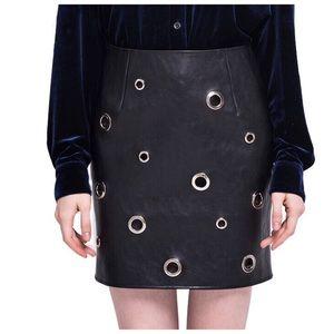 Dresses & Skirts - Black Grommet Soft Vegan Leather Skirt D40