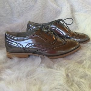 Wanted Shoes - Wanted Metallic Silver Oxford Shoes