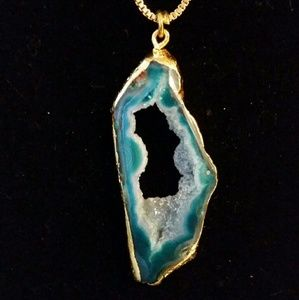 24th & Ocean Jewelry - 24k Gold electroplated teal agate necklace