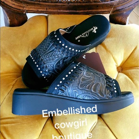 562a4d04e927e8 Tooled black peep sandal shoes wedge. Boutique. montana west