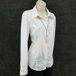 Appleseed's Tops - White button down shirt with black stitch detail