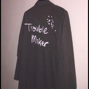 """Zara Jackets & Blazers - Zara Army Green Jacket """"Trouble Maker"""""""