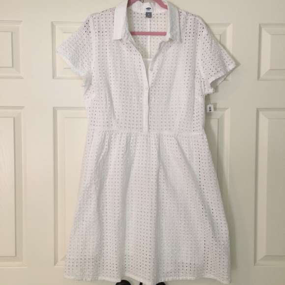 Old navy old navy nwt white eyelet shirt dress from kyle for White military dress shirt