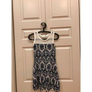 LF White & Blue Mosaic Skater Dress