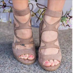 Shoes - Taupe strapped Suede lace up heel