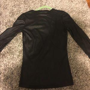 custom Tops - One of a kind vegan leather long sleeve t shirt