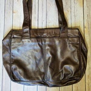 Francesco Biasia Handbags - FRANCESCO BIASIA metallic brown leather tote