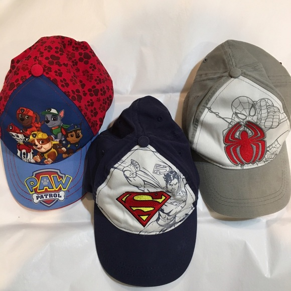 1bcc872a5a5ed 3 pc bundle boys caps hats paw patrol spiderman