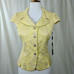 Tahari Tops - Tahari V-Neck Brocade Cap Sleeved Mandy Jacket