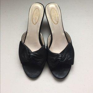 Callisto Shoes - Callisto black ribbon kitten heel slip on