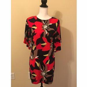 Trina Turk Body Con Mini Dress Bat Wing Sleeve XS