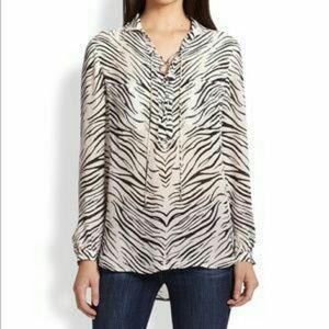 Haute Hippie Tops - Haute Hippie Zebra silk blouse