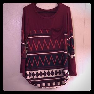 Maroon Tribal Pattern Long Sleeve Shirt