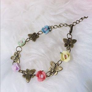 Jewelry - Handmade Polymer Clay Flower Butterfly Bracelet