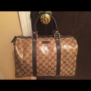 Gucci Monogram Leather Boston Bag!