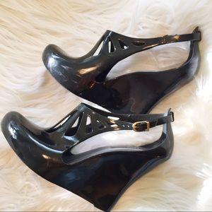 Melissa Shoes - Melissa Black Jelly Buckle strap wedge heels