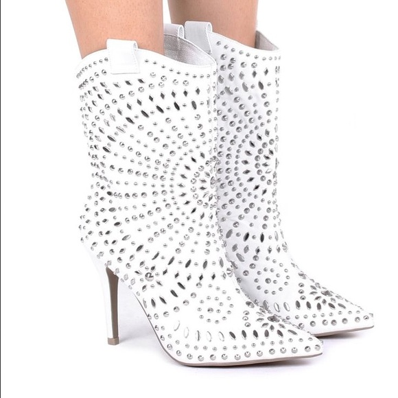 Jeffrey Campbell White Studded Ciccone Heel Boots 1d022c0a8f