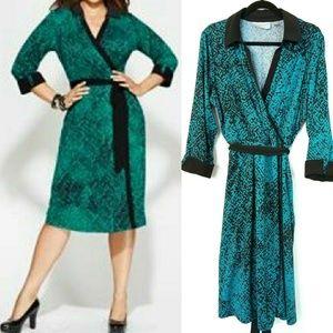 Avenue Dresses & Skirts - Avenue 18/20 Teal & Black Knit Shirt Dress, Belted