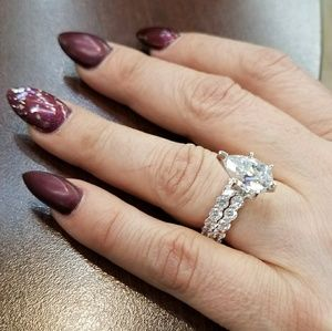 Jewelry - 14k White Gold Eternity Engagement Ring and Band