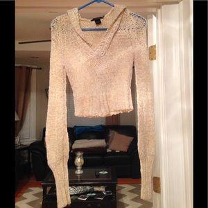 Arden B Sweaters - Arden B Cream hooded crop light weight sweater