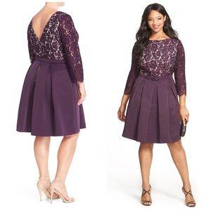 Eliza J Dresses & Skirts - Eliza J Purple Pleated Faille and Lace Dress