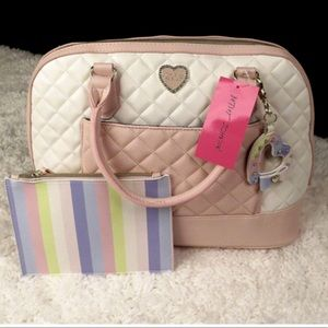 Betsey Johnson Handbags - Betsey Johnson Pastel Quilted Satchel with Pouch