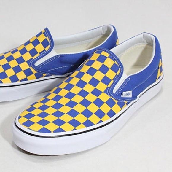 ba1e83af5e28a8 Blue and Gold Checkered Vans. M 5903f5b3b4188edd5a034f4a