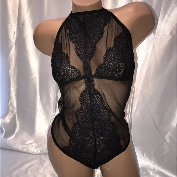 b75ab17145 Vs lingerie Crochet Lace teddy High Neck Black SML