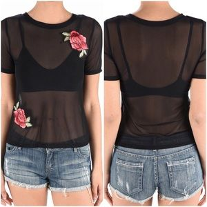 Tops - 💋FINAL💋Black Mesh Embroidered Rose Patch Top