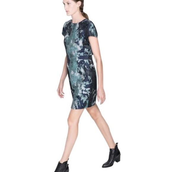3e4caa8c Zara Dresses   Sale Green Blue Jaquard Dress   Poshmark