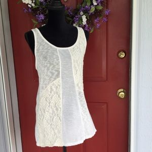 fang Tops - Cream lace panel stretchy tunic tank top