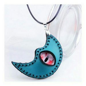 Jewelry - Eye Moon Faux Leather Necklace