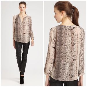 Joie Silk Snake Print Brown Blouse