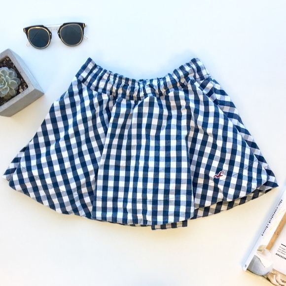 Hollister Dresses & Skirts - 🔻Hollister Blue Gingham Skater Skirt