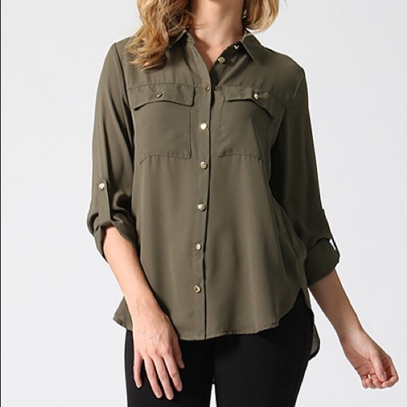 Lydiane Tops Olive Green Button Down Chiffon Top Poshmark