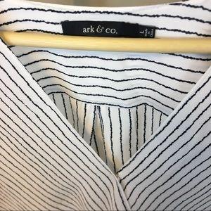 Ark & Co Tops - Ark & Co Striped Surplice Wrap Top