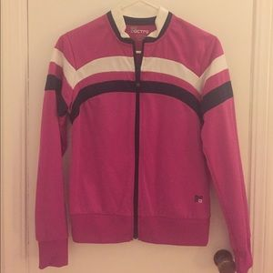 Jackets & Blazers - Dark pink zip up athletic jacket.