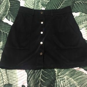 Snap Button Front Mini Skirt