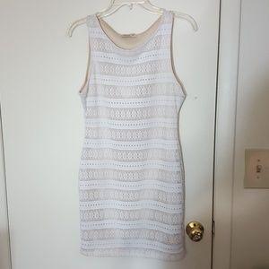 Arden B Dresses & Skirts - Arden B White & Tan Striped Dress Sz. M